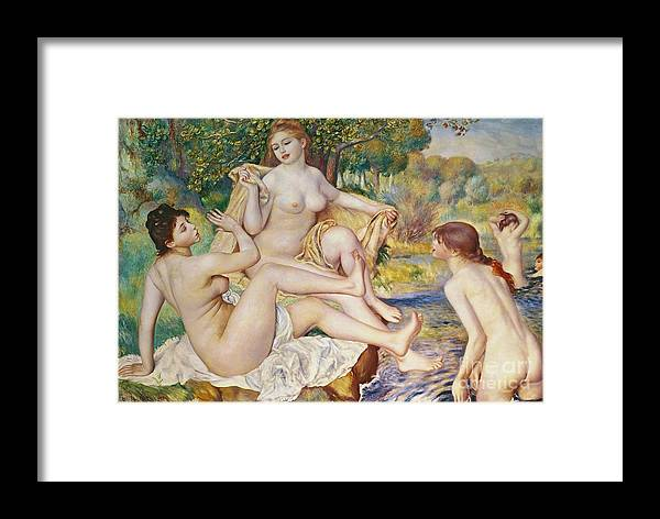 The Framed Print featuring the painting The Bathers by Pierre Auguste Renoir