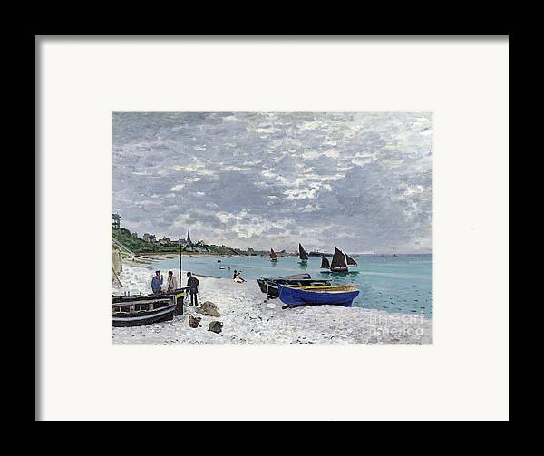 Coastal;french;rowing Boat;sailing;sainte Adresse; Boats Framed Print featuring the painting The Beach At Sainte Adresse by Claude Monet