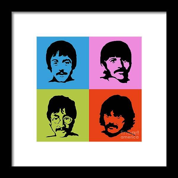The Beatles Framed Print featuring the digital art The Beatles Colors by Geek N Rock