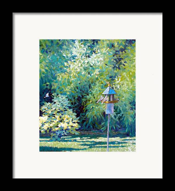 Birds Framed Print featuring the painting The Bird Feeder by Kevin Lawrence Leveque
