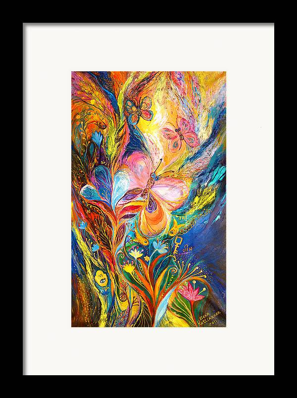 Original Framed Print featuring the painting The Butterflies by Elena Kotliarker