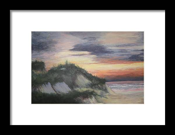 Seascape Framed Print featuring the painting The Cliffs by Sheryl Sutherland
