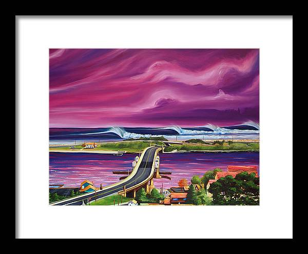 Surf Framed Print featuring the painting The Hook by Ronnie Jackson