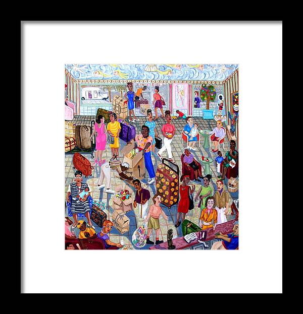 Folk Art Framed Print featuring the painting The Islanders by Maria Alquilar