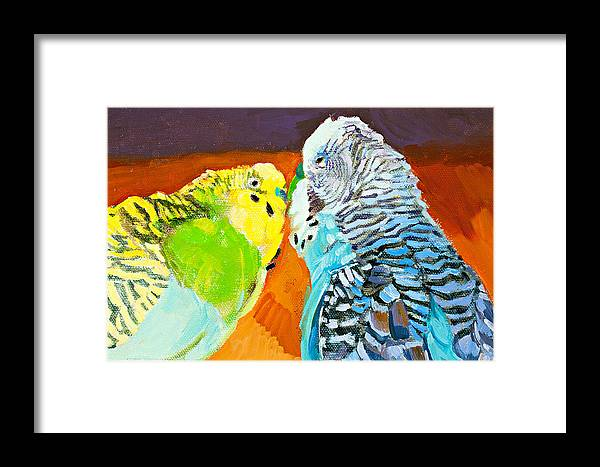 Birds Framed Print featuring the painting The Kiss by Debbie Beukema