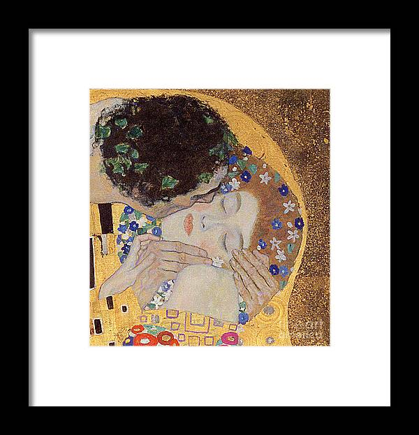 The Framed Print featuring the painting The Kiss by Gustav Klimt