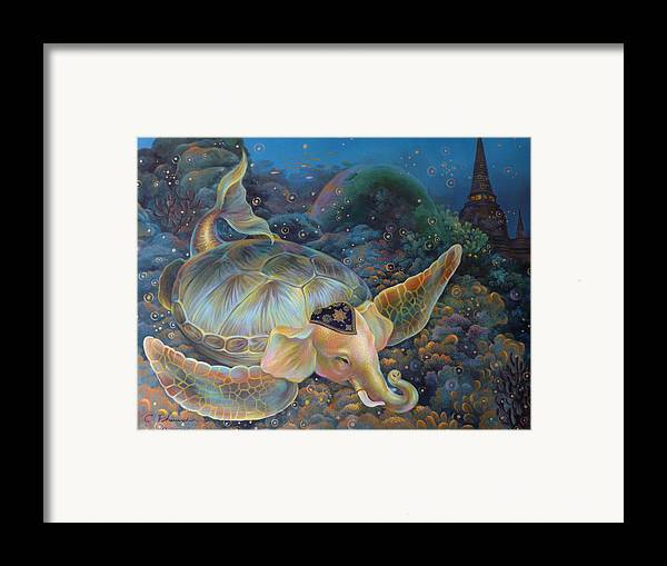 Surrealism Framed Print featuring the painting The Light Of Buddhism by Chonkhet Phanwichien