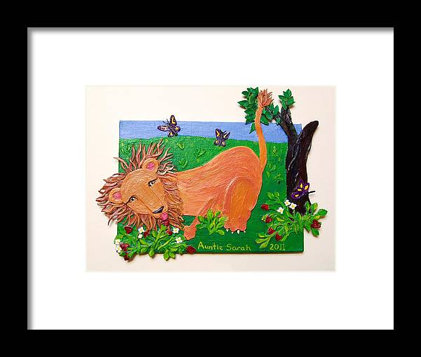 Lion Framed Print featuring the mixed media The Lion Who Loves Strawberries by Sarah Swift