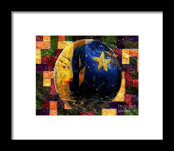Moon Framed Print featuring the painting The Moon Has A Bath by RC DeWinter