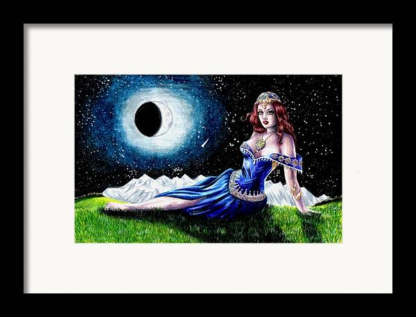 Witch Framed Print featuring the drawing The Moon Witch by Scarlett Royal