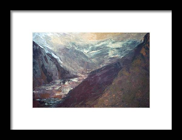 Lanscape Mountains Spiritual Places Framed Print featuring the painting The Path Of Lesser Resistence by Peta Mccabe