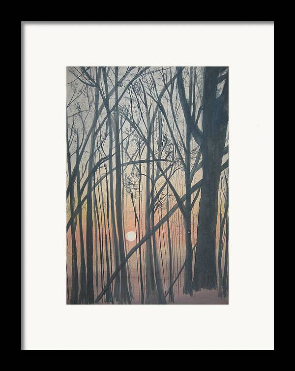 Trees Framed Print featuring the painting The Pines From The Treehouse by Sheryl Sutherland