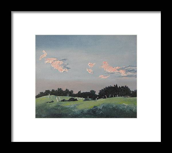 Landscape Framed Print featuring the painting The Pink Clouds by Francois Fournier