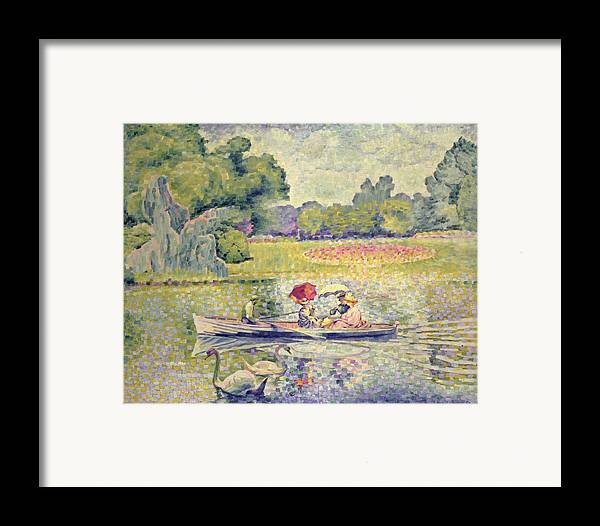 The Promenade In The Bois De Boulogne Framed Print featuring the painting The Promenade In The Bois De Boulogne by Henri-Edmond Cross