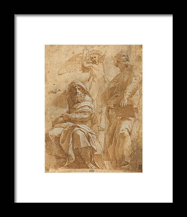 Raphael Framed Print featuring the drawing The Prophets Hosea And Jonah by Raphael