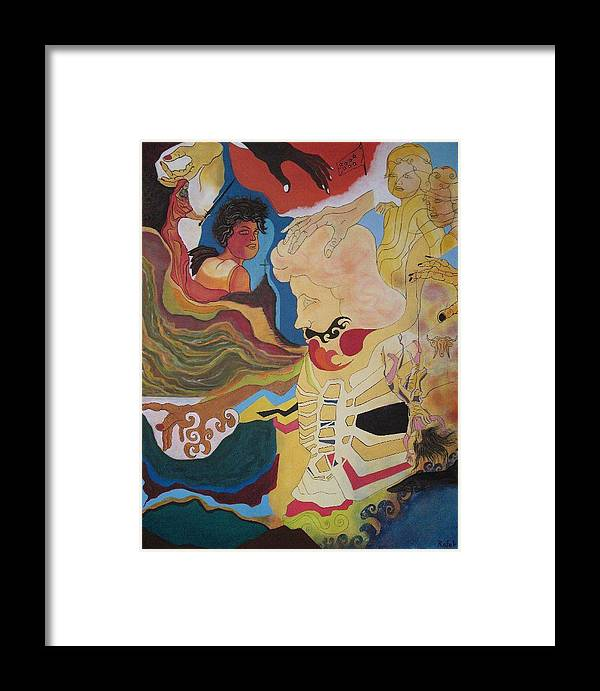 Surreal Framed Print featuring the painting The Psyche Of Chaos by Rafel Athens