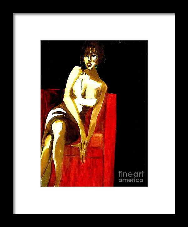 Sensual Woman In Low Cut Dress Sitting In A Red Chair Framed Print featuring the painting The Red Chair by Harry WEISBURD