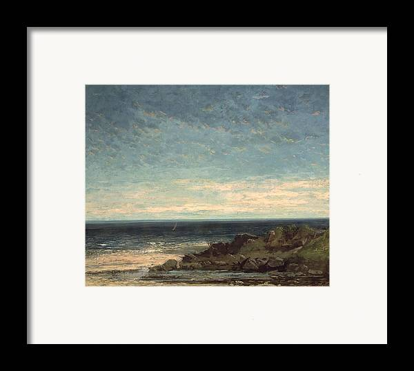 The Framed Print featuring the painting The Sea by Gustave Courbet