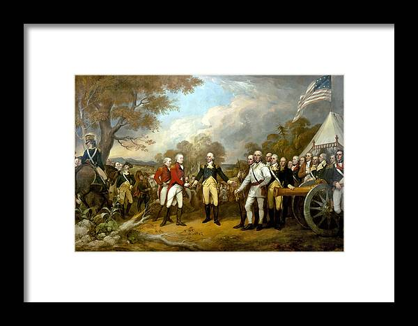 Revolutionary War Framed Print featuring the painting The Surrender Of General Burgoyne by War Is Hell Store