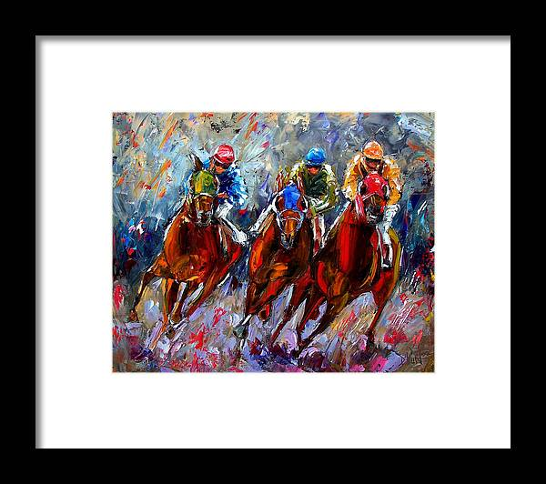 Horse Race Framed Print featuring the painting The Turn by Debra Hurd