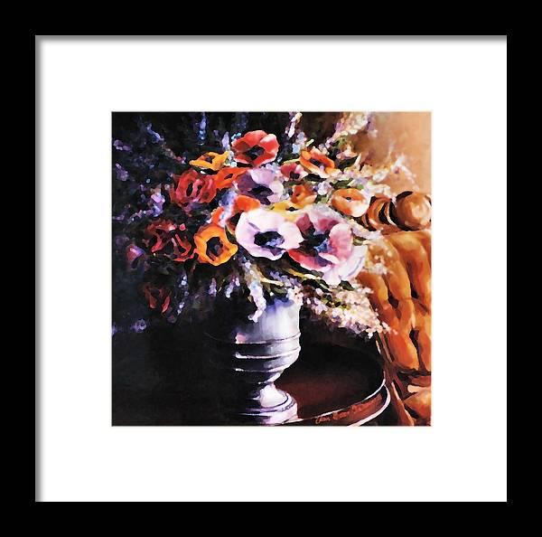 Garden Framed Print featuring the painting The Velvet Chair by Ellen Lerner ODonnell