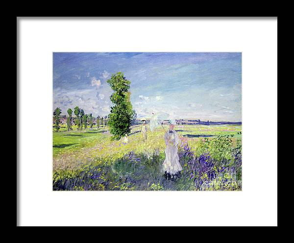 The Walk (argenteuil) Framed Print featuring the painting The Walk 1 by Claude Monet