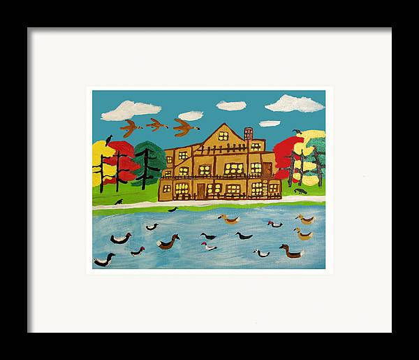 Wildlife Birds Landscape Framed Print featuring the painting The Wildlife Hotel by Betty Roberts