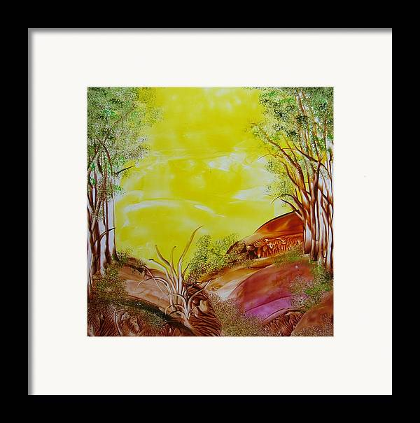 Encaustic Framed Print featuring the painting The Wood by Marketa Cejkova