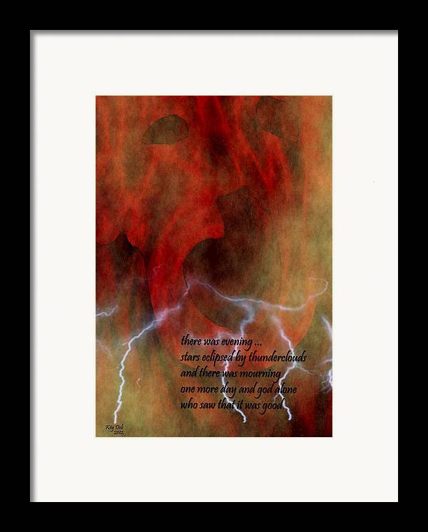 Job Framed Print featuring the digital art There Was Evening by Steve Mangan