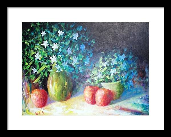 Floral Framed Print featuring the print Three Apples by Carl Lucia