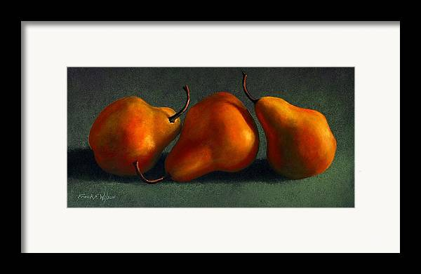 Still Life Framed Print featuring the painting Three Golden Pears by Frank Wilson