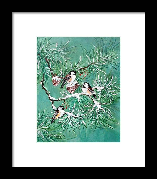 Birds;chickadees;pine;pine Cones;snow;winter; Framed Print featuring the painting Three Little Chickadees In Pine by Lois Mountz