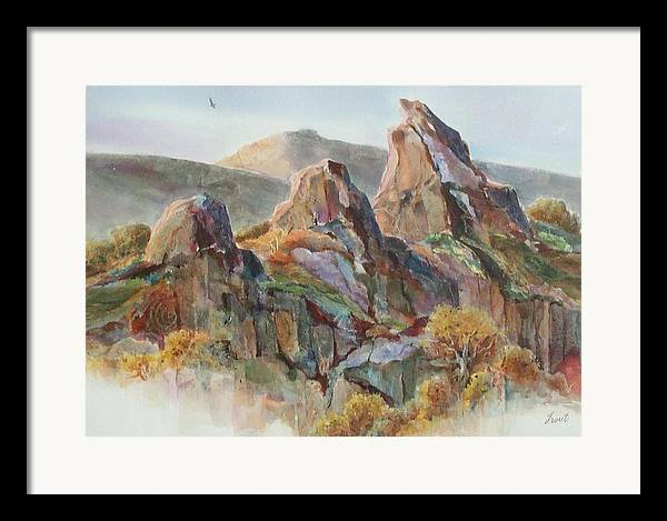 Landscape Mixed Media Framed Print featuring the painting Three Sisters by Don Trout