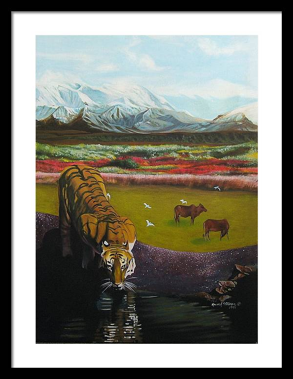 Tiger Framed Print featuring the painting Tiger by Howard Stroman