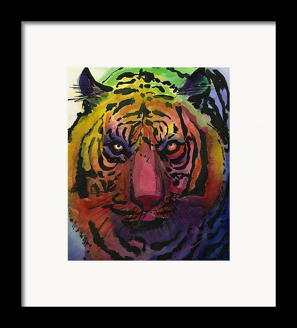 Tiger Framed Print featuring the painting Tiger Tiger by Galen Hazelhofer