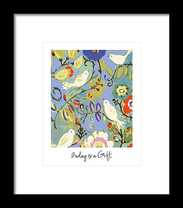 Birds Framed Print featuring the digital art Today Is A Gift by Karen Fields