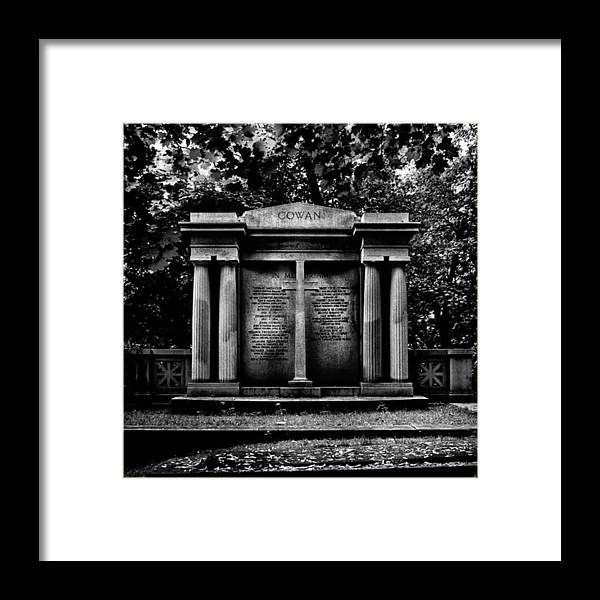 Lovetoronto Framed Print featuring the photograph Tombstone Shadow.  An Ongoing by Brian Carson