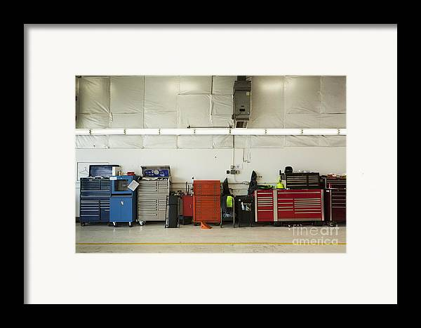 Auto Framed Print featuring the photograph Tool Chests In An Automobile Repair Shop by Don Mason