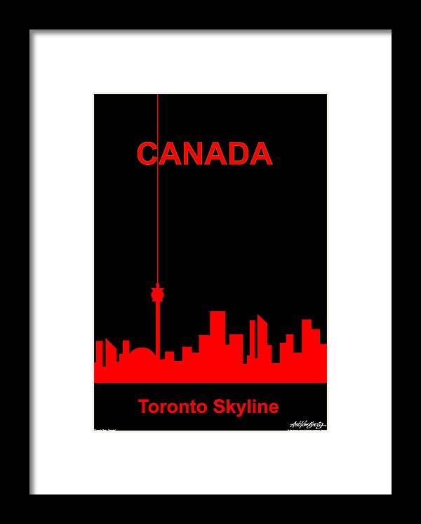 Canada Framed Print featuring the digital art Toronto Skyline by Asbjorn Lonvig