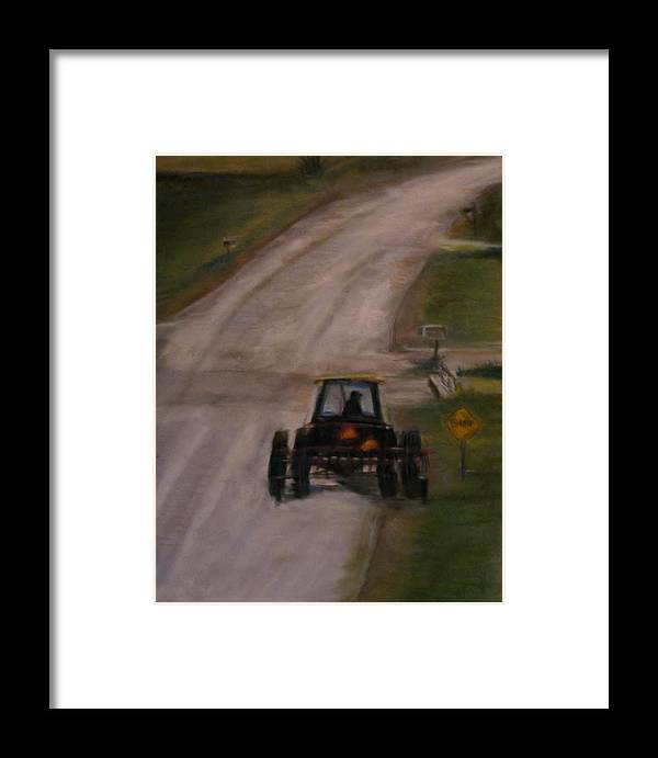 Rural Framed Print featuring the pastel Tractor On Washington by Wendie Thompson
