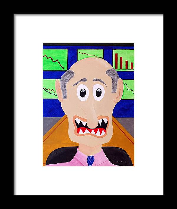 Financial Framed Print featuring the painting Trader by Sal Marino