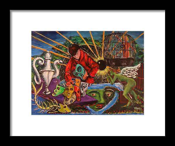 Masks Framed Print featuring the painting Trading Faces At The Cosmic Yard Sale by Dennis Tawes