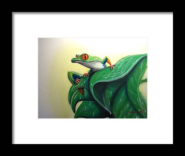 Frog Framed Print featuring the painting Tree Frog by Shane Whitlock