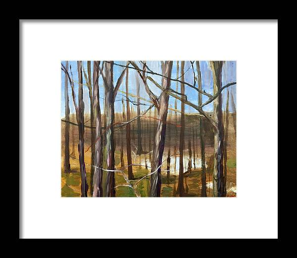 Trees Landscape Framed Print featuring the painting Trees by Eleonora Hayes