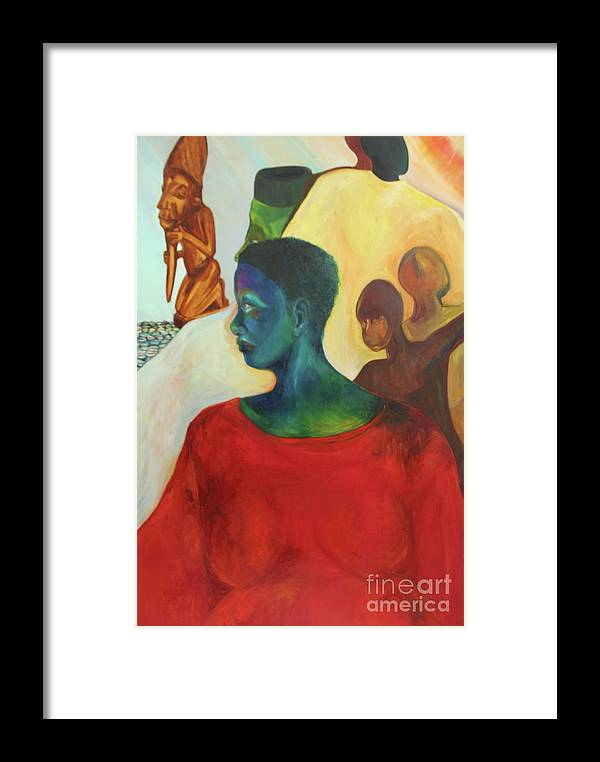 Oil Painting Framed Print featuring the painting Trickster by Daun Soden-Greene