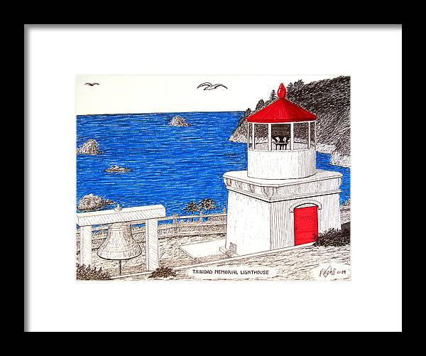 Pen And Ink Lighthouse Drawings Framed Print featuring the drawing Trinidad Memorial Lighthouse by Frederic Kohli