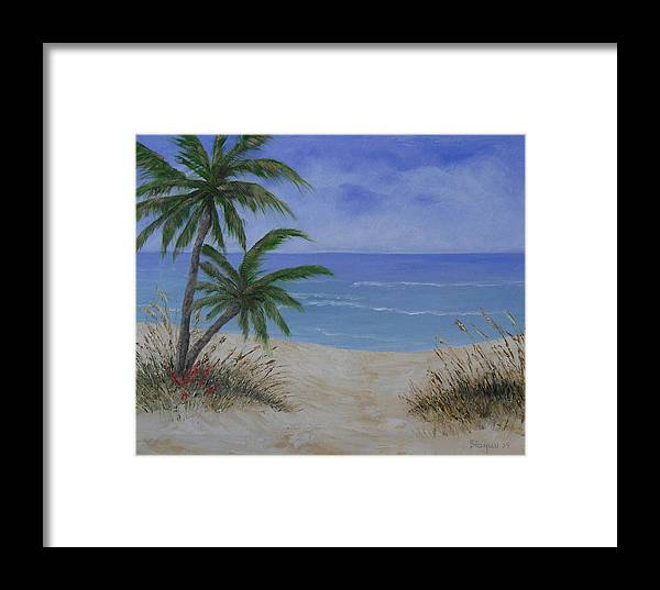 Seascape Framed Print featuring the painting Tropical Beach by Barbara Harper