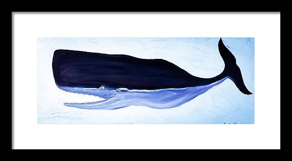Trouble Sperm Whale Framed Print featuring the painting Trouble Sperm Whale by Barry Knauff