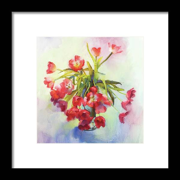 Floral Framed Print featuring the painting Tulip Fling by Cathy Locke
