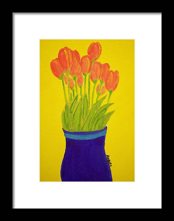 Portrait Framed Print featuring the painting Tulips by Audra Smith